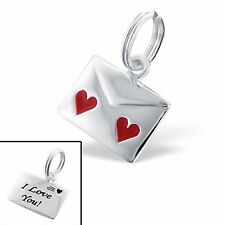 I Love You Letter Hearts  Sterling Silver Charm with Split Ring