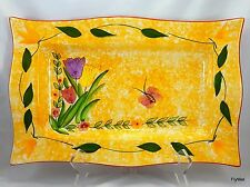 Spring Ceramic Serving Platter Tray Yellow Spongeware Tulips and Butterfly 14""