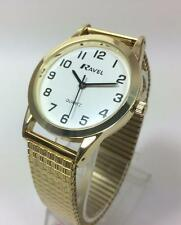 Ravel gents white face watch with gold coloured expanding strap R0201.02.1s