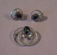Vintage Zeidell's Sterling Silver Hematite Joined Circle Brooch & Earring Set