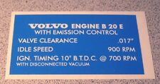 Volvo 1800 1800E B20E Valve Cover Emission settings restoration decal