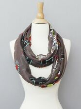 Gray and Multi Cross and Skull Infinity Scarf