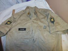 VINTAGE US MILITARY TAN KHAKI SHIRT PATCHES MEDALS NAME ARMY WW11 KOREA RIFLE