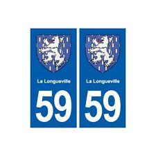 59 La Longueville blason autocollant plaque stickers ville arrondis