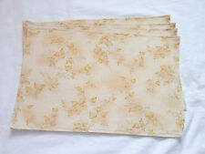 Autumn Fall Beige Tan Green Leaves Set of 4 Placemats
