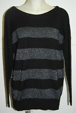 C by BLOOMINGDALES Cashmere Black & Silver Shimmering Sweater L $179 NWT