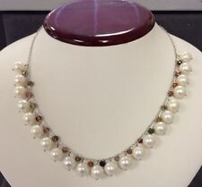 Beautiful 14k White Gold Ladies Freshwater Pearl Necklace With Multicolor Gemst.