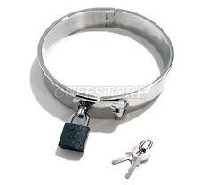 "15"" New Adult Latch Locking Stainless Steel BDSM Choker Slave Collar w/ Padlock"