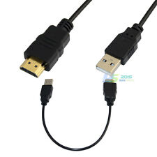 HDMI A Male to USB 2.0 Male Plug Adapter Converter Connector Charger Cable 20""