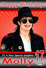 MICHAEL JACKSON GORGEOUS, LARGE A5 Personalised Birthday Card Any Name / Age!! 3
