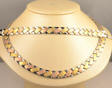 ladies X&O necklace and bracelet set multi color white , yellow rose gold finish