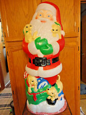 "41"" TPI SANTA CLAUS PUPPIES CHRISTMAS BLOW MOLD LIGHT UP YARD DECOR SAINT NICK"