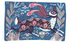Klaus Haapaniemi Running Hare Linen Cushion Cover Petrol Blue 55x35cm Rabbit