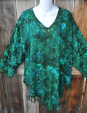 "ART TO WEAR MISSION CANYON FRINGED RUBY TOP IN ALL NEW OLIVE GARDEN ,OS+,52""B"