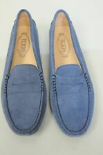 New TOD'S Flats Mocassins  Penny Driving Moccasins Shoes Navy Blue Suede 40