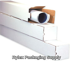"50  3x3x18"" White Box Corrugated Square Mailing Tube Shipping Storage"