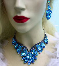 Rhinestone Necklace Earring Set Aqua Bridal Crystal Jewery Pageant Drag Queen