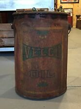 Ultra Rare Early VELCO OIL Gas Service Station 5 Gallon Metal Can Sign LOOK!!!