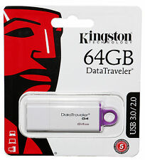 NEW Kingston 3.0 64GB USB Flash Drive DataTraveler Generation 4 RETAIL PACKAGING