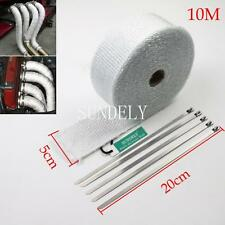 "2"" x 10M White Exhaust Heat Wrap Manifold Downpipe High Temp Bandage Tape Roll"