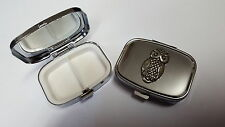 Sylised Owl PP-B19 English Pewter Emblem on a Rectangular Metal Pill Box