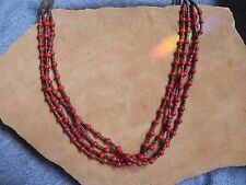 "4 strand Coral & Olive Shell Heishi Necklace 21"" Santo Domingo"