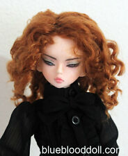 "1/4 bjd 7-8"" doll head copper red color curly wig MSD Luts kids W-183M"