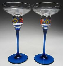 Avon Arcoroc France Cobalt/Clear Dinnerware Southwest Theme Pair of Candlesticks