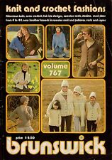 Brunswick 767 Knit Crochet Fashions Fisherman Aran Cape Hat Family Pattern 1976