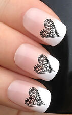 NAIL ART SET #358. x24 LACE FLOWER LOVE HEARTS WATER TRANSFER DECALS STICKERS