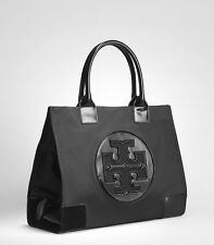 NEW Authentic Tory Burch Ella Nylon Logo Tote Bag Black LARGE