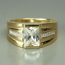 14K solid yellow gold stunning white Topaz men's 9x7mm ring size 10