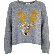 River Island Grey Christmas Jumper Gold Sequin Reindeer Face - Size 6
