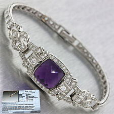 1920s Antique Art Deco Platinum 5.10ct Amethyst 2.5ct Diamond Estate Bracelet