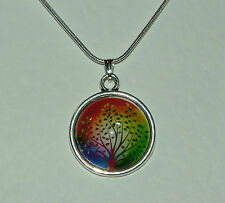 RED AND MULTI-COLOUR FANTASY TREE GLASS PENDANT SILVER PLATED MOUNT ROUND CHAIN