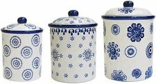 3 Piece Ceramic Canister Set Kitchen Counter Sugar Coffee Storage Container Jars