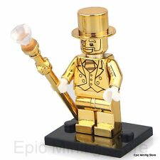 Custom Mr Gold Minifigure Series 10 fits with Lego pg 999 UK Seller