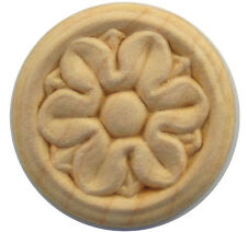 Embossed Birch Wood Overlay Rosette SIZE 1-1/4 INCH  PACK OF 4 PIECES