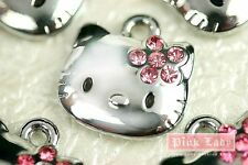 K11 Cute Pink Crystal Flower Bow Hello Kitty Cat Charms Pendants Wholesale