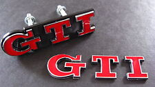 RED GTI GRILL & avvio Badge Set Golf Polo MK2 MK3 MK5 MK6 VW