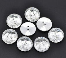 10 Acrylic Crystal diamond buttons 25mm (1 inch) silver plated back Bling BLing