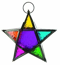 Moroccan Style Hanging Glass Metal Rainbow Star Candle Holder Lantern Centerpiec