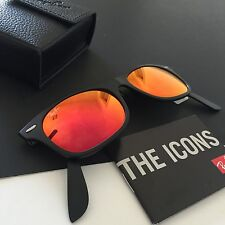 Ray-Ban RB4223 The Icons Black Folding Mirrored Wayfarer Sunglasses NWT Italy