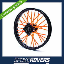 COUVRE RAYON ORANGE FLUO DIRT MINI 50 ROUE JANTE SPOKE COVERS SKINS VELO TRIAL