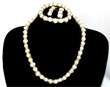 Christmas Gift Natural Freshwater White Pearl Bridal Bridesmaid Jewelry Set SALE
