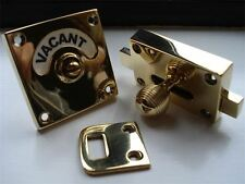 BRASS BEEHIVE VACANT ENGAGED TOILET BATHROOM LOCK BOLT INDICATOR DOOR KNOBS