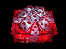 Beautiful Glass Block Light/Lite with Ladybugs and Red Lights - Ladybug Light!