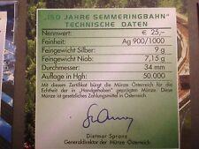 1 x ORIGINAL NIOB Zertifikat Österreich von 2004 - 150 Jahre Semmeringbahn !