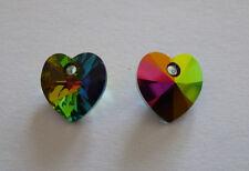 Schickes Swarovski Herz Kristall Grün Regenbogen AB