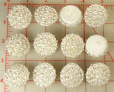 """12 vintage beaded buttons white pearls alternating tiny silver seed beads 1.25"""""""